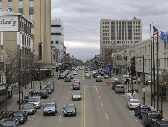 Downtown looking eastward along College AvenueThursday.