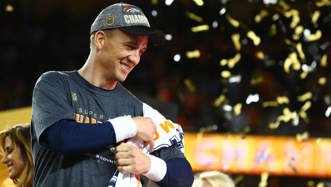 Peyton Manning celebrates his second Super Bowl victory in February.