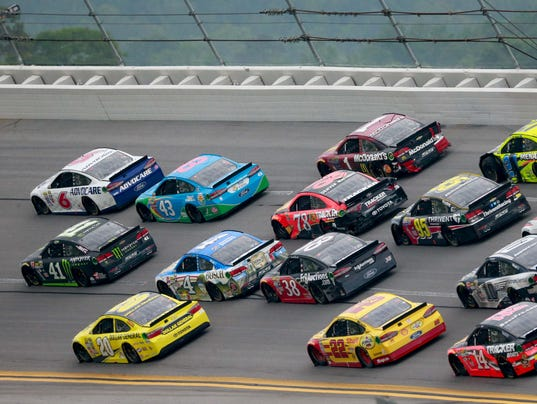 Sprint Cup Series drivers jockey for position during the May 1 race at ...