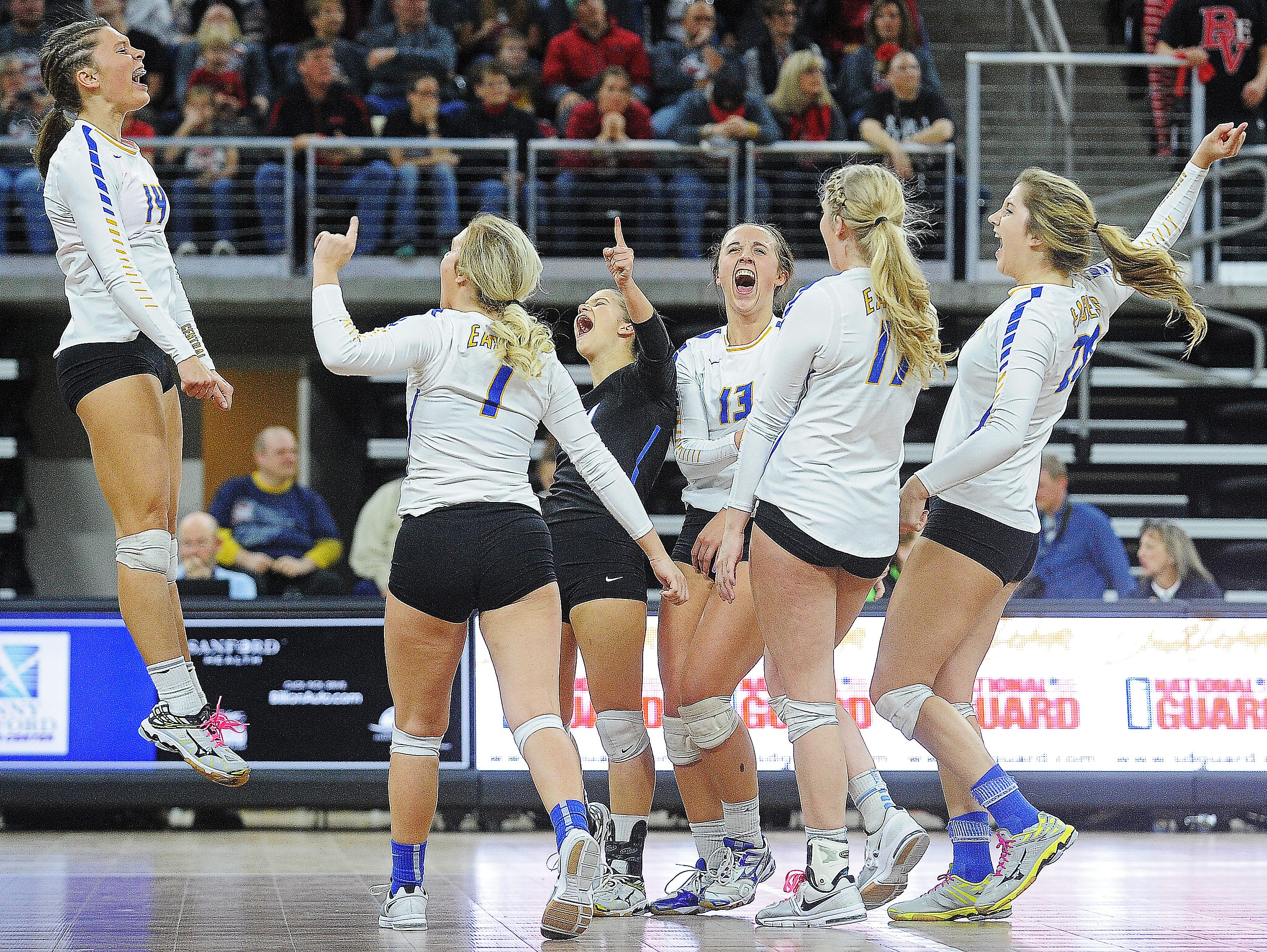 Aberdeen Central players react during the South Dakota State High School Class AA championship volleyball match against Brandon Valley Saturday, Nov. 21, 2015, at the Denny Sanford Premier Center in Sioux Falls.