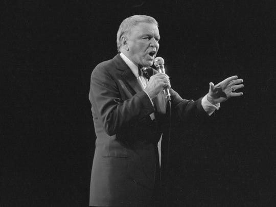 Frank Sinatra sings at the Milwaukee Arena on May 14, 1984.