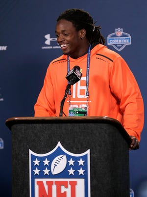 Wisconsin running back Melvin Gordon answers a question during a news conference at the NFL football scouting combine in Indianapolis, Thursday, Feb. 19, 2015. (AP Photo/David J. Phillip)