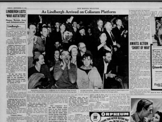 Coverage of Charles Lindbergh's speech in the Sept.
