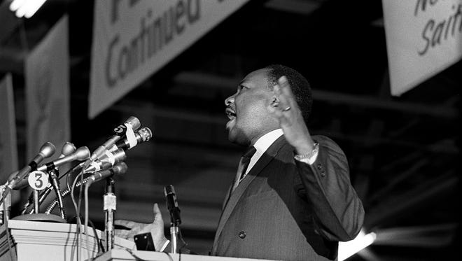 "Dr. Martin Luther King Jr., who was on a tour of the South to recruit volunteers for his ""Poor People's Campaign"", spoke to an overflow crowd at Mason Temple March 18, 1968. Crowd estimates ranged from 9,000-13,000. Speaking in support of striking sanitation workers, King called for a general work stoppage by black Memphians if the city did not agree to a union dues checkoff. ""Along with wages and other securities, you're struggling for the right to organize. This is the way to gain power. Don't go back to work until all your demands are met"", Dr. King told the crowd. He pledged to return to Memphis on March 22 to lead a march that was postponed because of a near record snowfall. The protest was rescheduled for March 28. The march ended in disorder with looting and vandalism along Beale and Main Streets. Police moved in with tear gas and nightsticks. By day's end, one person had been killed and more than 60 injured. King would agonize over what happened and vowed to return to lead a peaceful mass march. On Wednesday, April 3, King again returned to Memphis. That night, more than 2,000 listened as he gave his famous ""Mountaintop"" speech at Mason Temple. The next day, at 6:01p.m., an assassin's bullet struck Dr. King as he stood on the balcony outside room 306 at the Lorraine Motel."