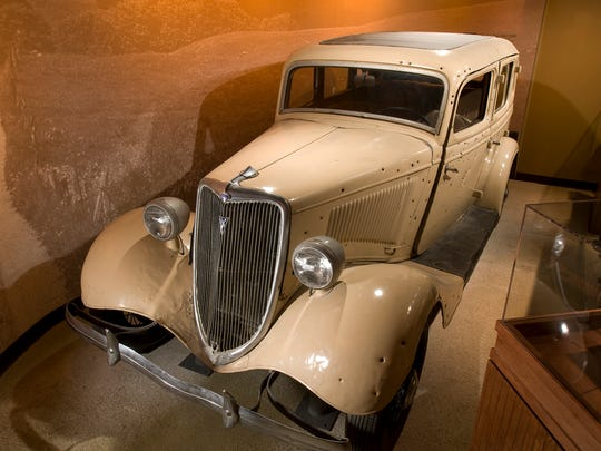 """Bonnie and Clyde bullet-riddled """"death car."""""""