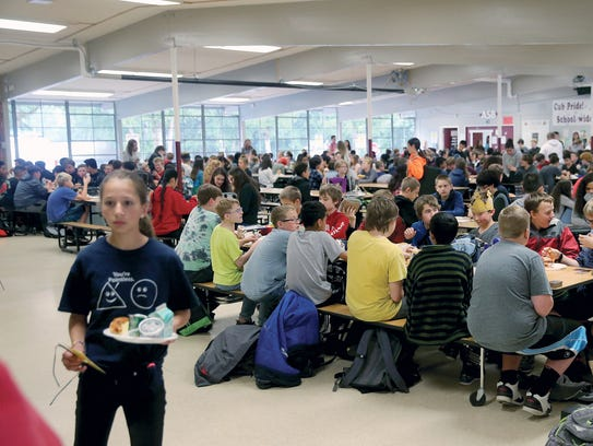 The cafeteria at Central Kitsap Middle School, which