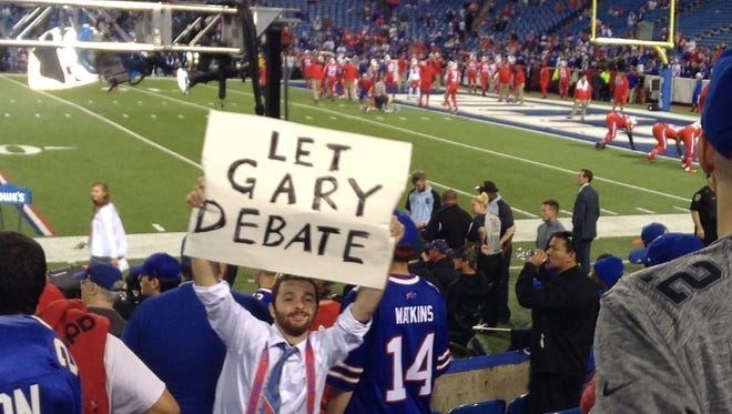A sign before last Thursday's Buffalo Bills game calling for Libertarian candidate Gary Johnson to be allowed to participate in the presidential debates.