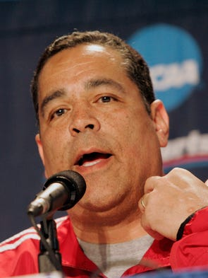 Kelvin Sampson is seen at a press conference. IU practices in Sacramento Wednesday 3/14/07 to prepare for their game with Gonzoga in their opening game in the NCAA tournament. Rob Goebel/Indianapolis Star.