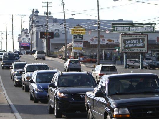 Traffic backs up on Highway 76, the Branson strip,