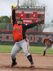 Gibsonburg's Aubrey Flemming throws a pitch Saturday in a win over Old Fort.