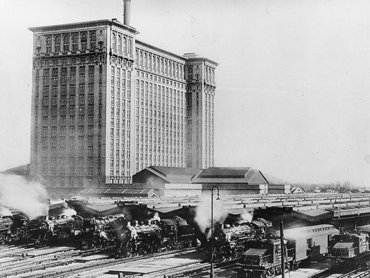The impressive Michigan Central railroad station, with