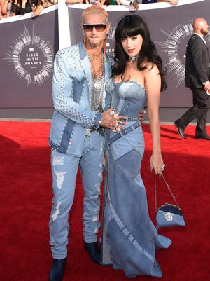Rapper Riff Raff and singer Katy Perry attend the 2014 MTV Video Music Awards at The Forum on August 24, 2014 in Inglewood, California.
