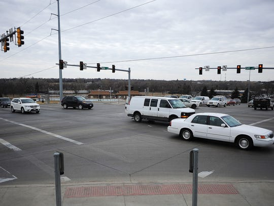 The intersection of 10th Street and Cliff Avenue on Wednesday, March 18, 2015, in Sioux Falls, S.D. 48 crashes, 2 injuries since Jan. 2013. City officials admit to being puzzled by this intersection. About a year ago they invested in a major project to lower the number of crashes. Turn lanes were added because they seemed to be the major contributor to crashes. But crash numbers remain relatively high.