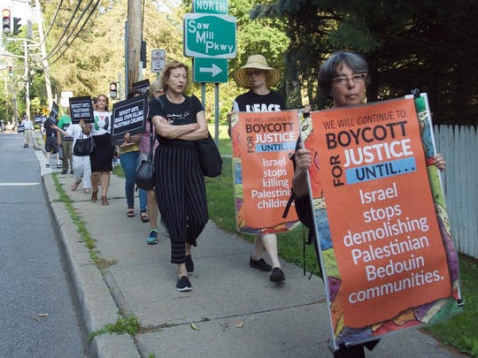 A 2016 march in support of the BDS movement heads to