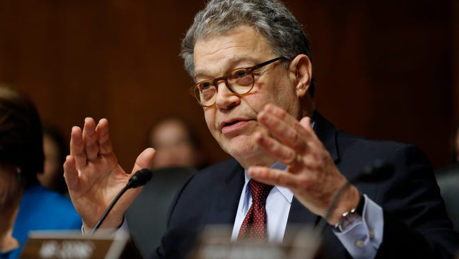 Senate Judiciary Committee member Sen. Al Franken, D-Minn. questions FBI Director nominee Christopher Wray during Wray's confirmation hearing before the committee on Capitol Hill in Washington, July 12, 2017.