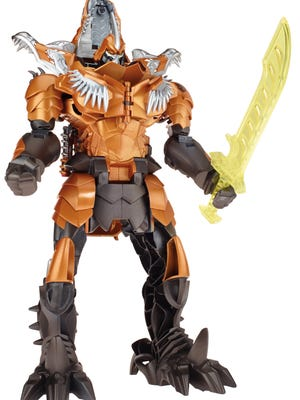 Chomp and Stomp Grimlock ($79.95, coming in August) has a sword in robot mode and jaws and light-up eyes as a dino.