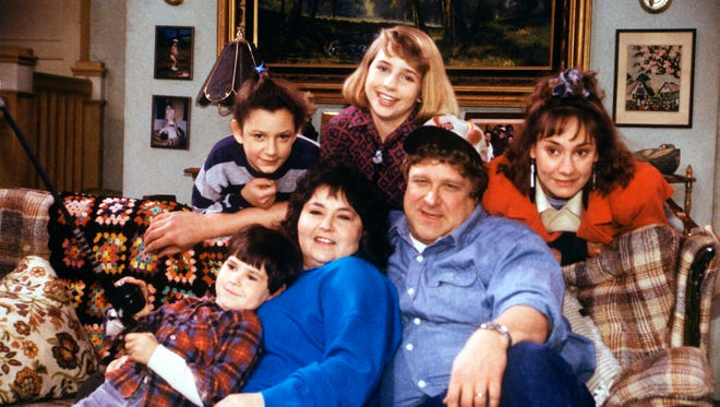 Original 'Roseanne' cast members returning for ABC's revival include Michael Fishman, left, Sara Gilbert, Roseanne Barr, Alicia (Lecy) Goranson, John Goodman and Laurie Metcalf.