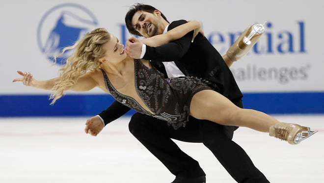 Madison Hubbell, left, and Zachary Donahue, representing the Lansing Skating Club, perform during the free dance event at the U.S. Figure Skating Championships in San Jose, Calif., on Sunday.
