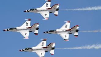The U.S. Air Force Thunderbirds take to the skies over Lake Michigan for the Milwaukee Air & Water Show Saturday and Sunday.
