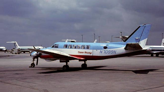 Ocean Airways operated the Beechcraft Model 99 on flights out of what is today Monmouth Executive Airport in Wall Township. This photo was taken in Atlanta in May 1980.