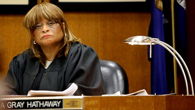 Judge Cynthia Hathaway listens to opening statements of the retrial of Detroit police officer Joseph Weekley.