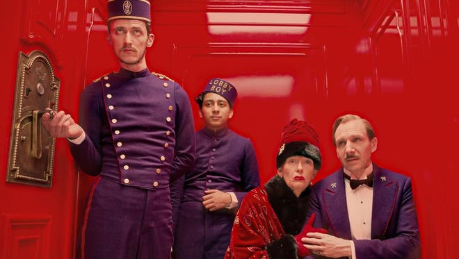 "Paul Schlase, Tony Revolori, Tilda Swinton and Ralph Fiennes are shown in a scene from the motion picture ""Grand Budapest Hotel."""
