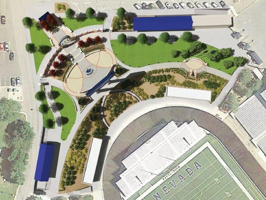 Conceptual design showing an overview of the north entrance at Mackay Stadium, which will undergo a major renovation.