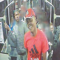 A man was attacked on a Metrolink train while other passengers sit and watch.