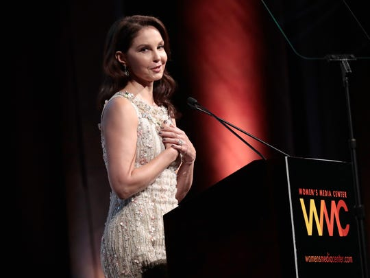 Ashley Judd accepts the WMC Speaking Truth To Power Award onstage at the 2017 Women's Media Awards on Oct. 26, 2017.