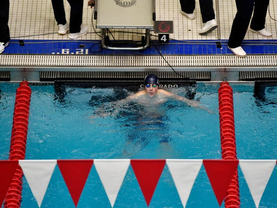 Chambersburg's Avery Barley looks at the scoreboard after winning the boys' 100-yard backstroke in the PIAA District 3 AAA boys' swimming championships Saturday, March 3, 2018, at Cumberland Valley.