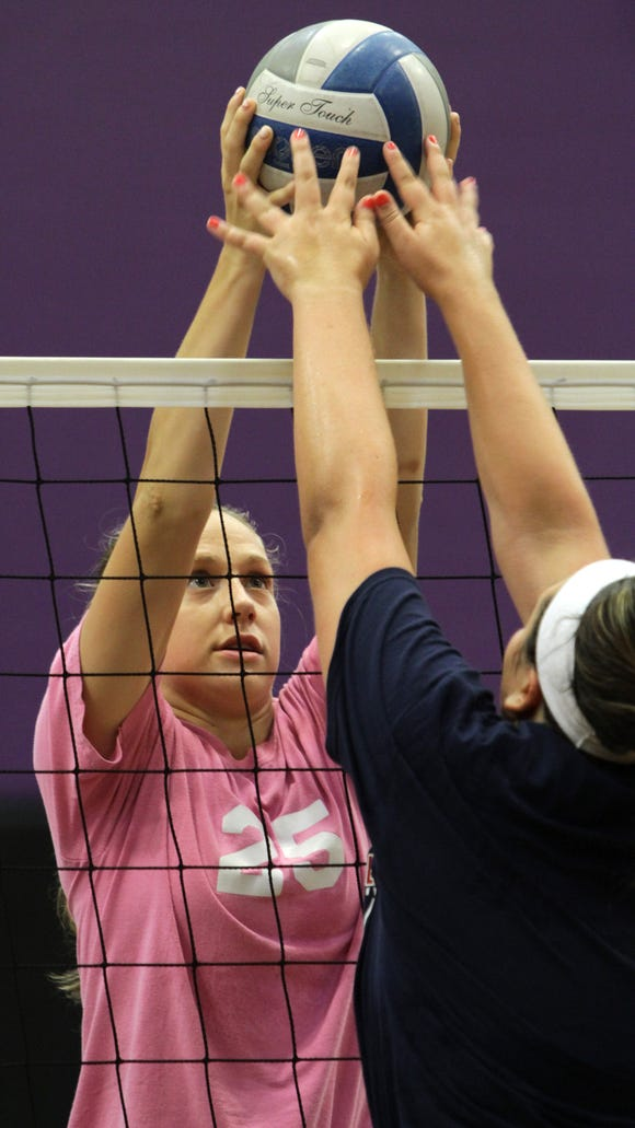 Taylor McCarthy and Lauren Donohue work out during John Jay's volleyball team practice at John Jay High School Aug. 21, 2015.