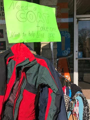 Dan Jost estimates 150 coats, in addition to other warm weather clothing, have been donated and given away from the coat rack he set up on West Franklin Street.