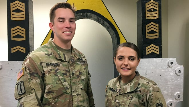 Staff Sgt. Cory Glasgow, left, and Sgt. Cara Chapman survived three days of grueling tests to be named the top medics in the 1st Armored Division and Fort Bliss. They will team up at the Armywide competition later in October at Camp Bullis near San Antonio.