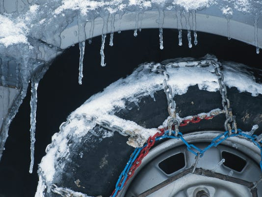 Chains on tyre in snow