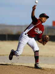 Shiprock's Cameron Phillips pitches against Navajo Prep on Tuesday at Shiprock High School.