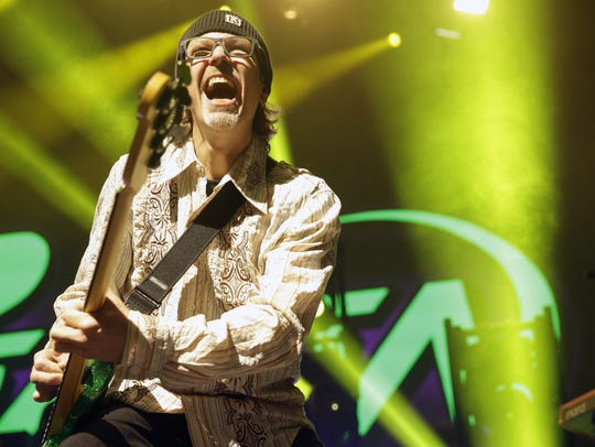 Poison bassist Bobby Dall was all smiles for the band's