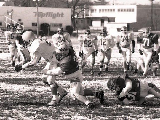 All-Star football teams from York and Lancaster counties played in the first War of the Roses in 1989. York County coaches needed to shovel 3 to 4 inches of snow off the yard lines before the 10 a.m. kickoff. Lancaster won, 28-6, but both teams struggled to hold on to the ball in the frigid temperatures as the teams combined to commit 15 turnovers.