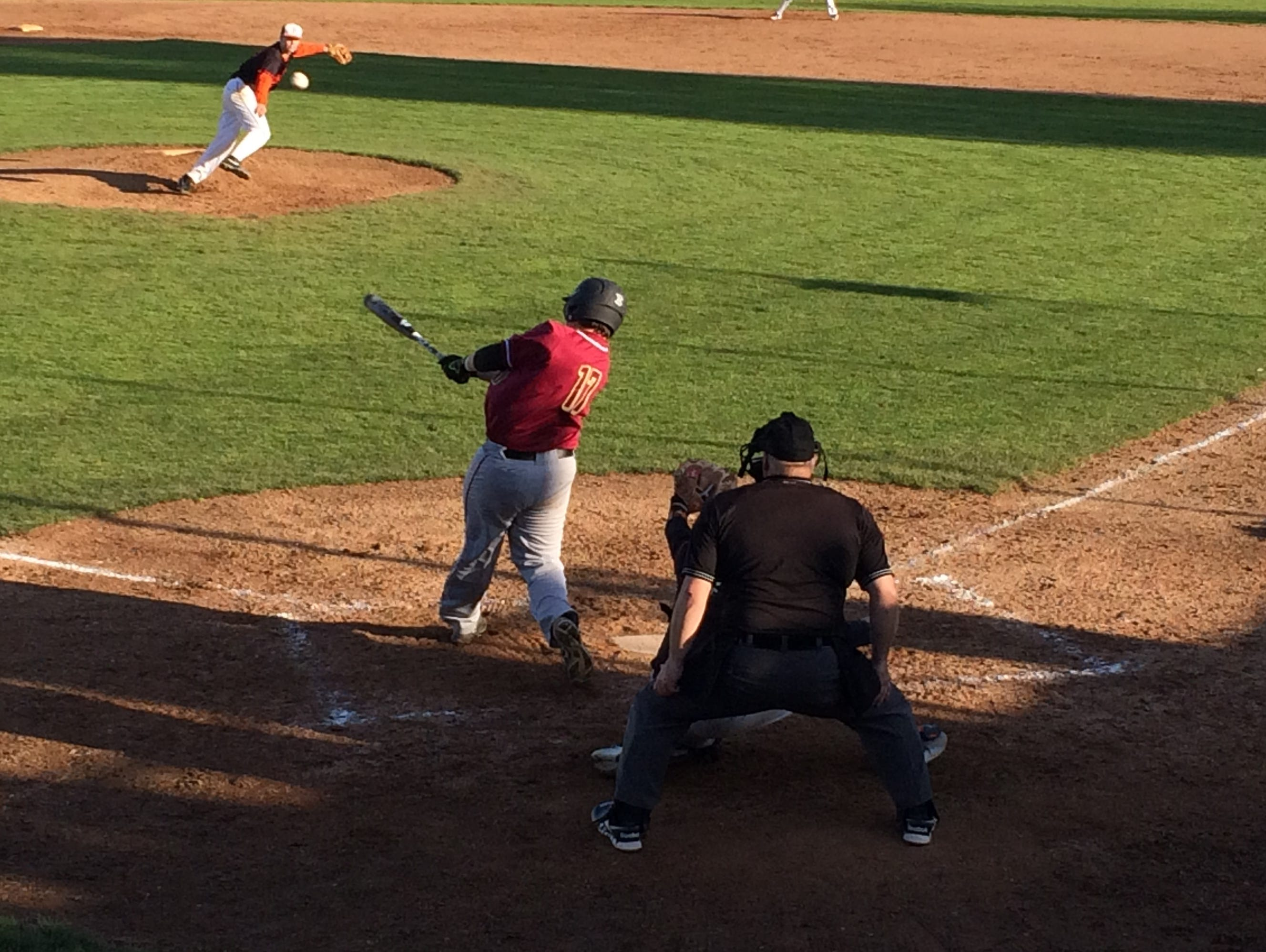 Southridge's Parker Stidham hits a home run in the sixth inning to give the Skyhawks the lead over Beaverton.