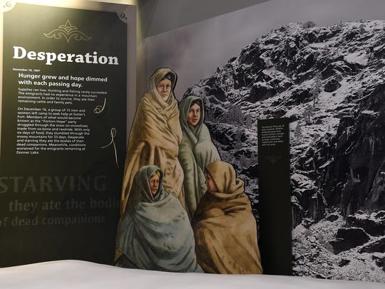 A Donner Party display is seen in the new visitor center