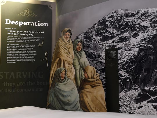 A Donner Party display is seen in the new visitor center at the Donner Memorial State Park near Truckee, Calif., on June 3, 2015.