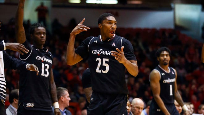 Cincinnati Bearcats guard Kevin Johnson (25) reacts after making a basket during the second half against the Houston Cougars at Hofheinz Pavilion.