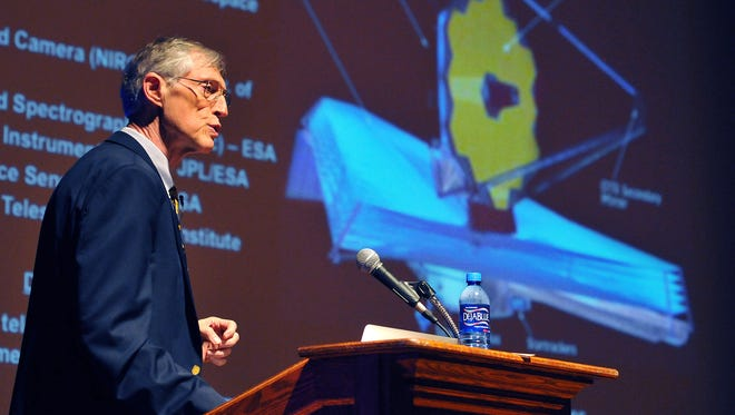 John Mather speaks on the James Webb Space Telescope at the Florida Institute of Technology in September 2016.