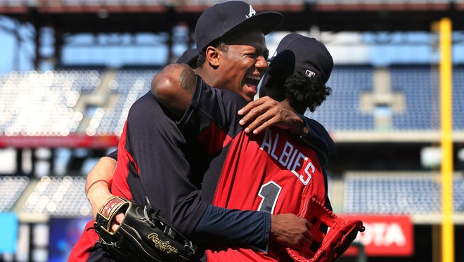 """We're tight with each other like brothers,'' Ozzie Albies, right, says of his 20-year-old teammate Ronald Acuña Jr."