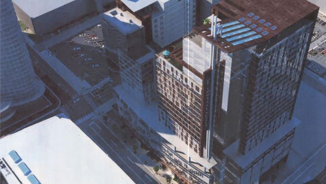 A preliminary progress print shows how the Embassy Suites and Curio hotels could look at 710 Demonbreun St.