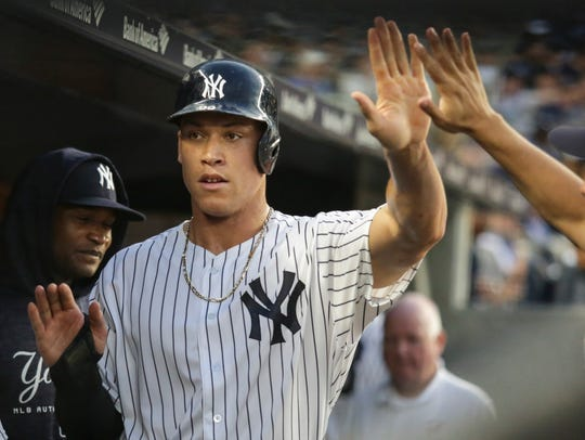 New York Yankees right fielder Aaron Judge (99) is
