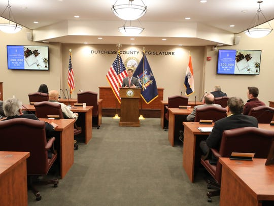 Marcus Molinaro, the Duchess County executive, delivers his 2018 budget address in the Legislative Chambers of the Duchess County Office Building in Poughkeepsie in 2017. Molinaro and a majority of the legislature are Republicans, but county voter enrollment has tipped in favor of Democrats in recent years.