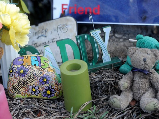 A memorial at a bus stop on North Ventura Road in Oxnard marks where where Christopher Camper was fatally shot.