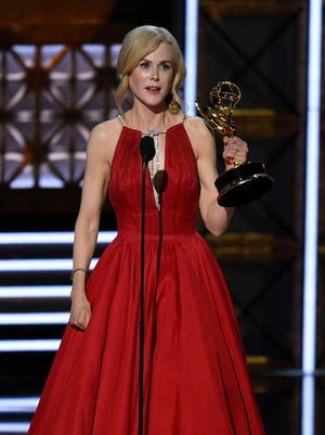 Nicole Kidman accepts the award for lead actress in a limited  series or a movie for her role in HBO's 'Big Little Lies' during the 69th Emmy Awards.
