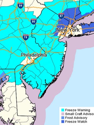 The National Weather Service has issued a freeze warning for almost the entire state of New Jersey.