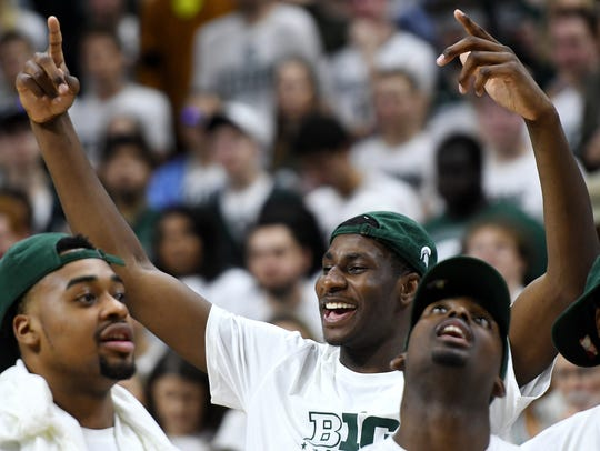Michigan State's Jaren Jackson Jr. celebrates after